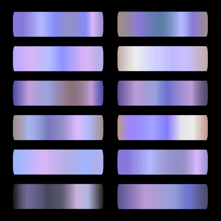 Holographic Gradient vector set. Shiny, holographic, pearl, neon, chrome metallic, light purple gradation colors