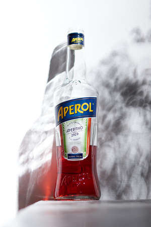 Warsaw, Pol - May 2020: Bottle of Aperol, an Italian aperitif made of gentian, rhubarb, and cinchona, It is produced by the Campari company.