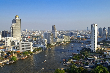 crowded space: Chao Phraya river city scape Stock Photo