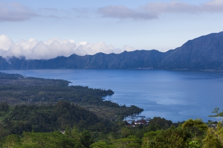 Lake Batur in the crater of the volcano, Indonesia, Bali photo