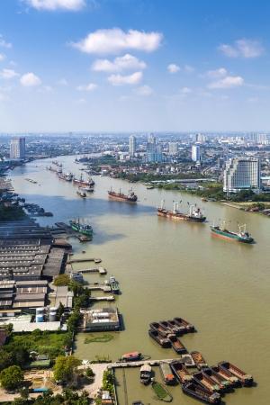 river scape: Chao Praya river city scape Bangkok Thailand