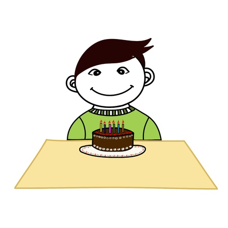 Happy boy celebrating his birth day chocolate cake Stock Vector - 17963883