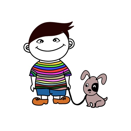 A little boy walks with his funny dog Vector