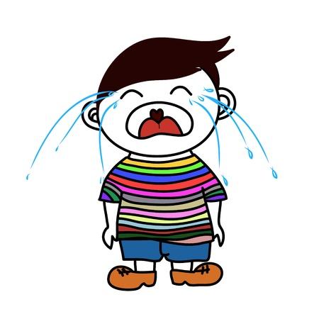 boy in shorts: a boy crying Illustration