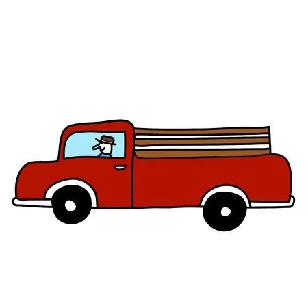 Small red pickup with driver smiling at work Stock Vector - 17963841