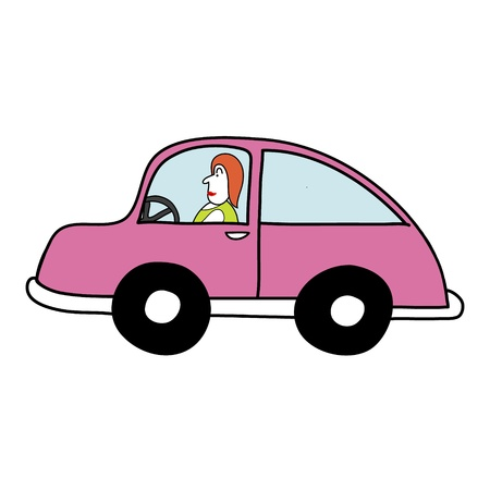 Lady in the pink car Stock Vector - 17963852
