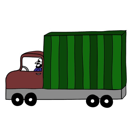 A driver kindly with green container truck Stock Vector - 17963851