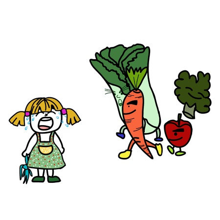 The little girl is crying because she does not to eat fruits and vegetables