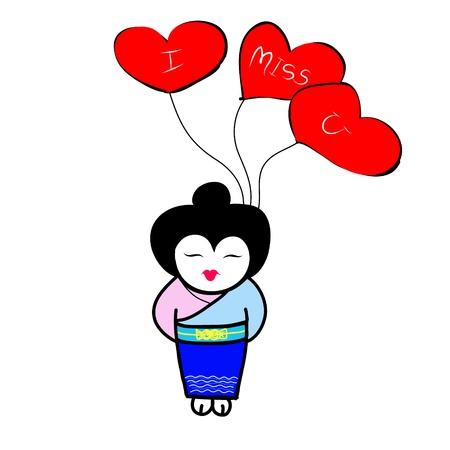 japanese girl holding heart shaped balloons Stock Vector - 17963870