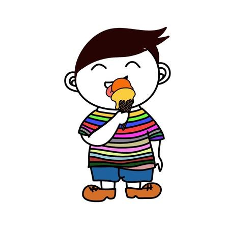 kid enjoy eating ice cream