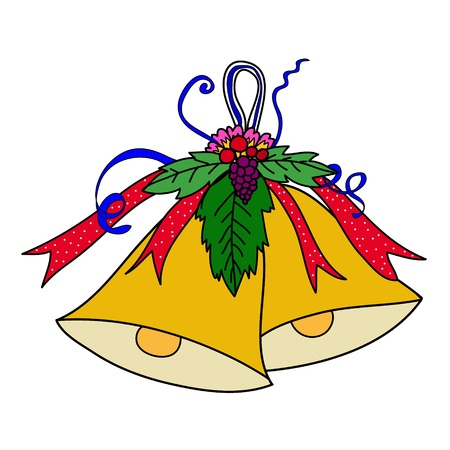 Christmas bell with a red bow Vector