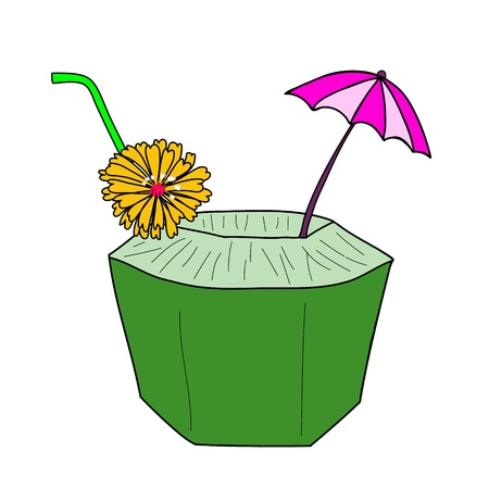 coconut drink: fresh coconut juice with yellow flower and small umbrella Illustration