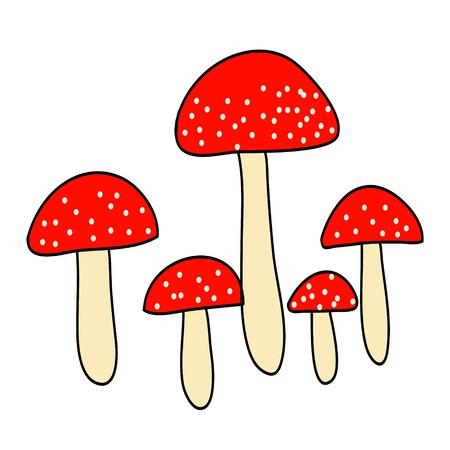 five poison red mushroom on white background Stock Vector - 19196805