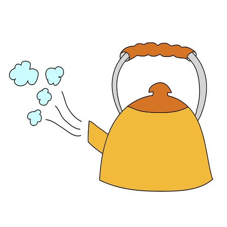 yellow kettle with boilling water on white background