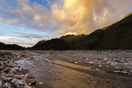 Sunset at fox glacier in New Zealand Stock Photo