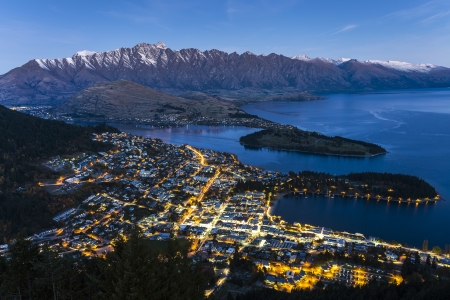 Aerial view of Queenstown downtown at dusk, South Island, New Zealand