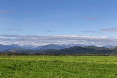 green field, mountain and blue sky