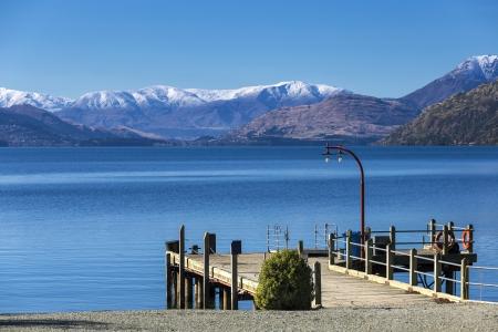 Port of Walter Peak, Lake Wakatipu, New Zealand Stock Photo