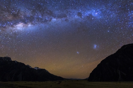 Milky Way at Tasman Vallay,Mount Cook National Park, Canterbury New Zealand photo
