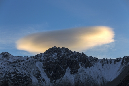 Twilight cloud over Mount Cook, Canterbury, New Zealand photo