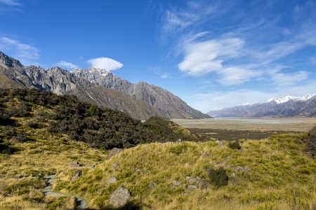 oft: View oft Tasman Valleys , Aoraki Mt Cook national park Southern Alps mountain South Island New Zealand Stock Photo
