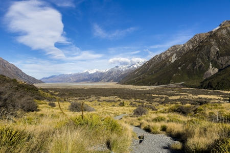 newzealand: View oft Tasman Valleys , Aoraki Mt Cook national park Southern Alps mountain South Island New Zealand Stock Photo