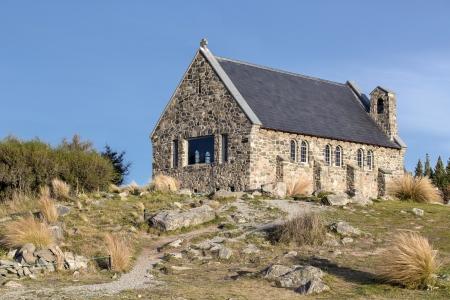 good shepherd: The church of the good shepherd, Lake Tekapo, Canterbury, New Zealand Stock Photo