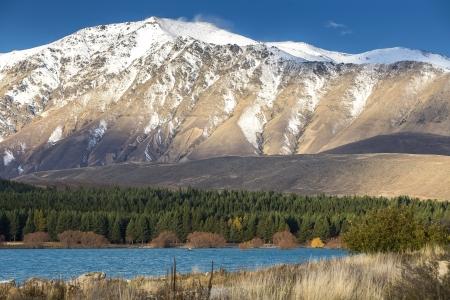 tekapo: View of Lake Tekapo, Canterbury, New Zealand Stock Photo