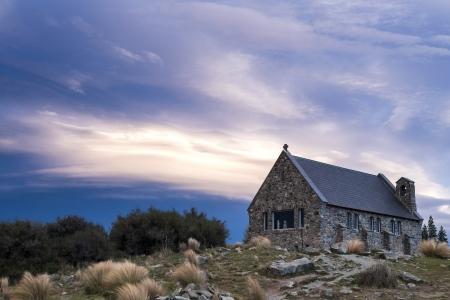 sunset at the church of the good shepherd, Lake Tekapo, Canterbury, New Zealand photo