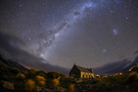newzealand: milky way at Church of the good shepherd Lake Tekapo, Canterbury, New Zealand