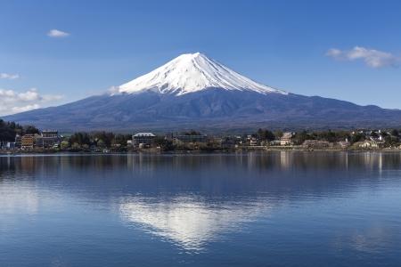 富士山河口湖での反射