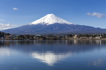 japan sky: Reflection of Mt Fuji at lake Kawaguchiko