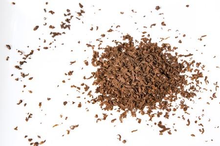 chocolate flakes on white background Stock Photo