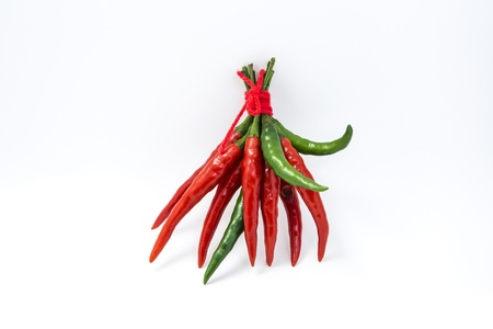 Hot red chilli and green chilli pepper isolated on white background