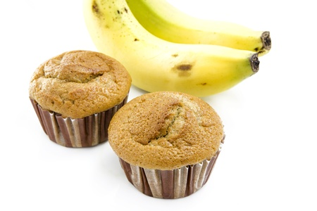 Banana cup cake isolated in white background photo