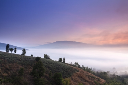 misty landscape in northern thailand, Chiang Mai, Thailand