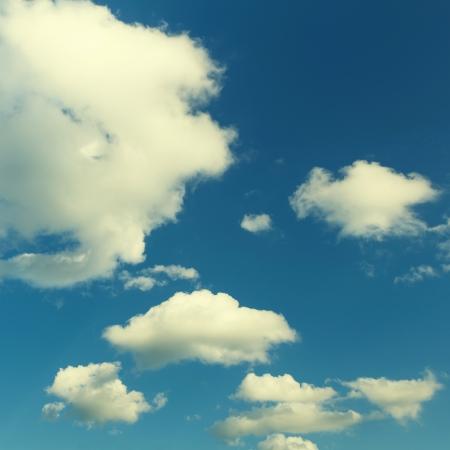 Vintage blue sky with cloud closeup