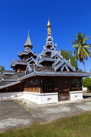 Burmese Architectural Style temple in northern thailand, Mae Hong Son, Thailand Stock Photo