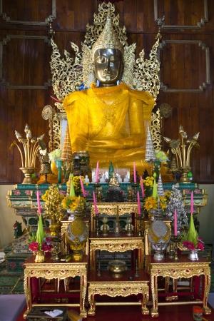 Burmese buddha Style in temple of northern thailand, Mae Hong Son, Thailand
