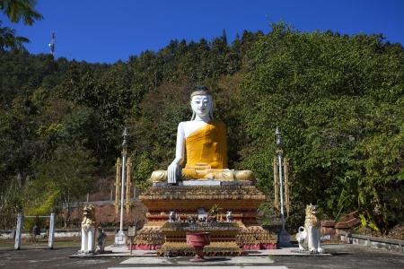 Burmese buddha statue style located outdoors at Mae Hong Son, Thailand