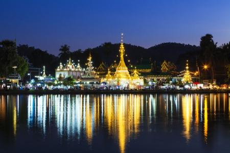 sunset at Jong klang temple, Mae Hong Son, Thailand