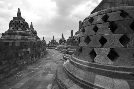 Black and white Borobudur temple Yogyakarta  Java, Indonesia