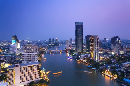 View of Chao Phraya river twilight and city scape photo