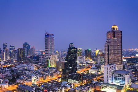 Bangkok city scape in twilight photo