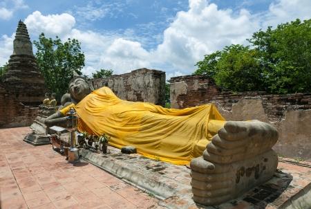 reclining: Reclining Buddha in Ayutthaya historical park, Thailand Stock Photo