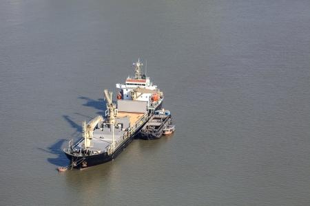 cargo ship on Chao Phraya river, Bangkok, Thailand Stock Photo - 22163256