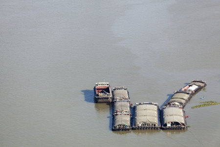 sand barge on the Chao Phraya river, Bangkok, Thailand Stock Photo - 22163255