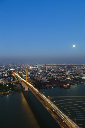 Bangkok Expressway and Rama 9 bridge city scape top view, Thailand