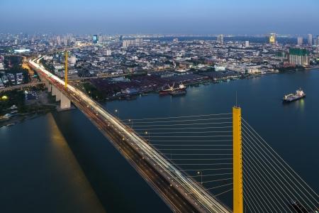 ix: Bangkok Expressway and Rama IX bridge city scape top view, Thailand Editorial