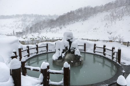 Open air hot ozen in snow winter, Hokkaido, Japan photo